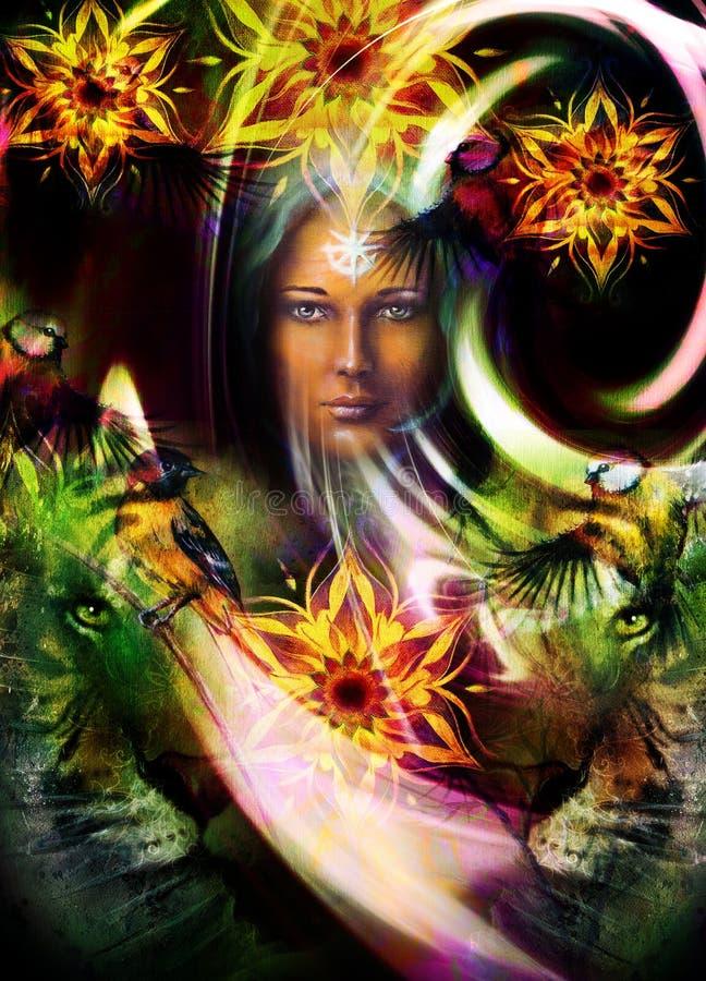 Cabeça poderosa de pintura do tigre, e mulher místico com ilustração do vetor