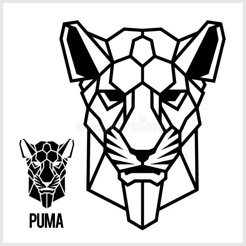 Cabeça poligonal linear do sumário de um puma Vetor ilustração stock