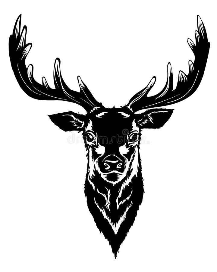 Cabeça preta dos cervos ilustração royalty free