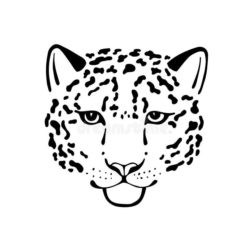 Cabeça preto e branco do esboço do vetor do leopardo ilustração royalty free