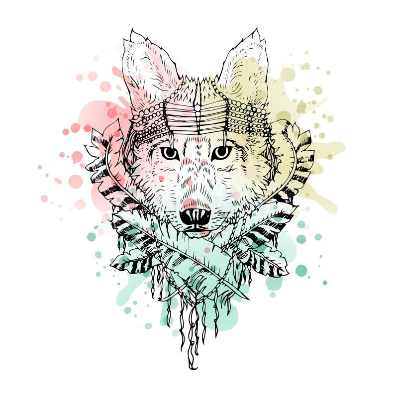 Cabeça preto e branco do lobo do animal selvagem, arte abstrato, tatuagem, cketch da garatuja ilustração stock