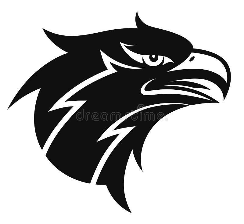 Cabeça preto e branco simples da águia ilustração stock
