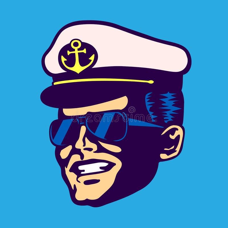 Cabeça retro do capitão de navio de cruzeiros com vidros do chapéu e do aviador ilustração do vetor