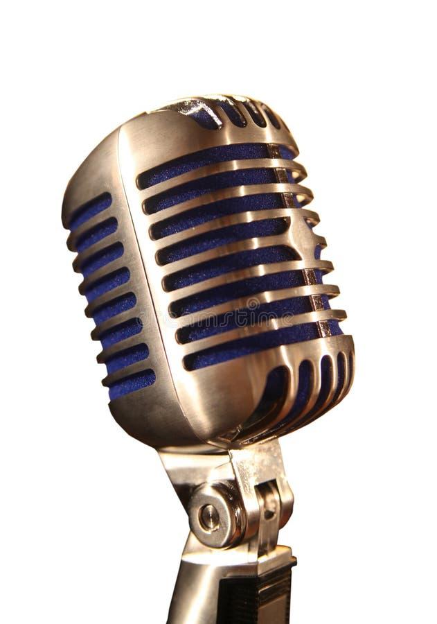 Cabeça retro do microfone do metal do cromo imagens de stock