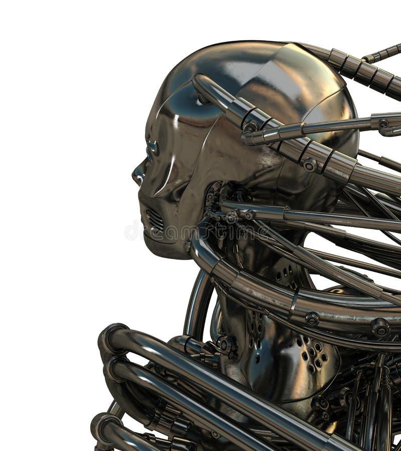 Cabeça robótico para trás ilustração royalty free