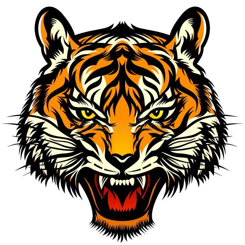 Cabeça rujindo do tigre ilustração royalty free