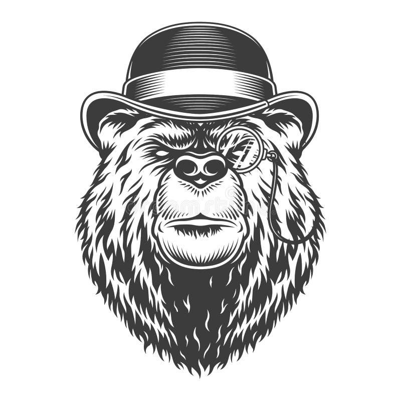 Cabeça séria do urso do cavalheiro do vintage ilustração royalty free