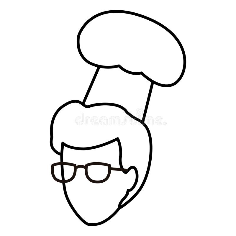 Cabeça sem cara do cozinheiro chefe em preto e branco ilustração stock