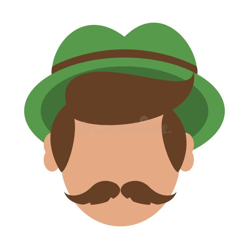 Cabeça sem cara do homem com bigode e o chapéu irlandês ilustração royalty free