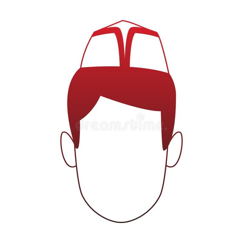 Cabeça sem cara do homem com linhas vermelhas do chapéu do restaurante ilustração stock