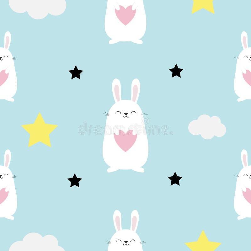 Cabeça sem emenda da lebre do coelho do teste padrão, coração nas mãos Nuvem, forma da estrela Caráter bonito do kawaii dos desen ilustração stock