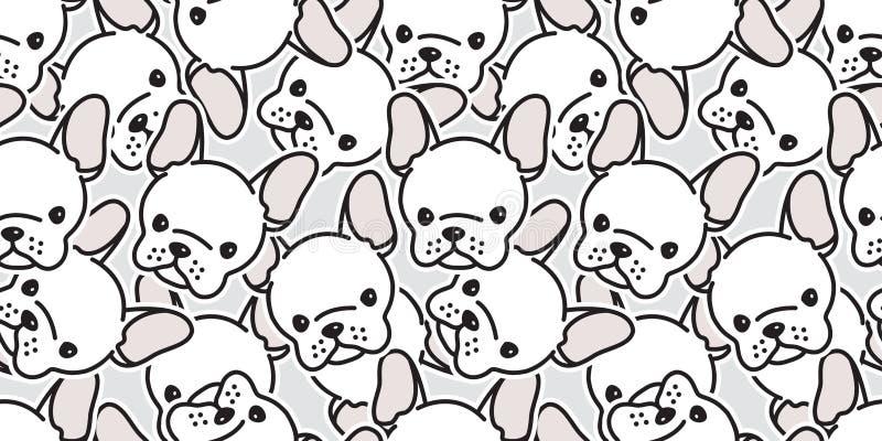A cabeça sem emenda do pug do vetor do buldogue francês do teste padrão do cão isolou o branco dos desenhos animados da repetição ilustração stock