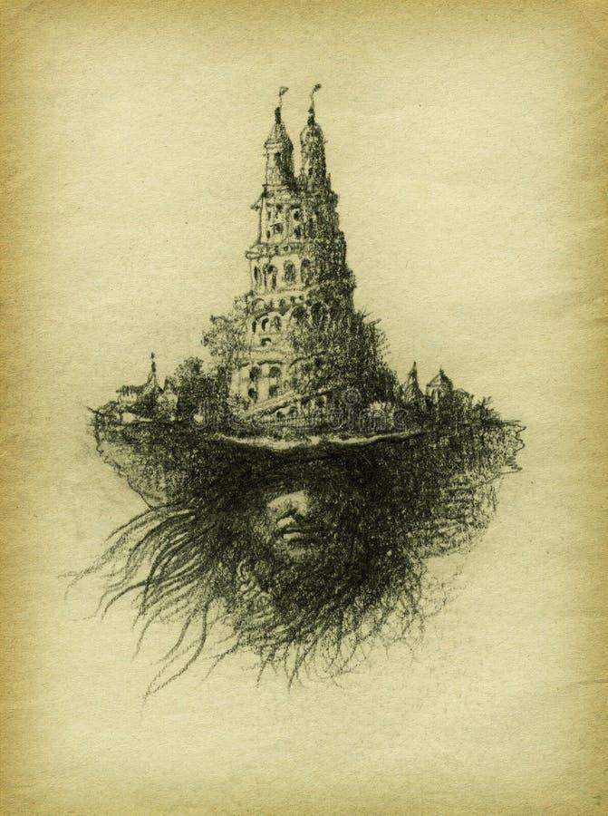 Cabeça surreal ilustração do vetor