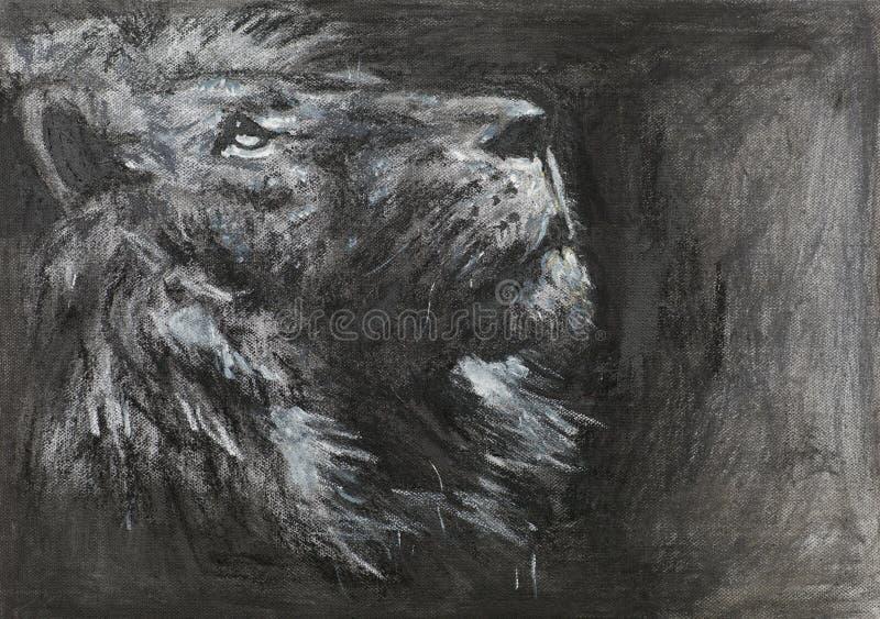 Cabeça tirada mão do leão ilustração royalty free