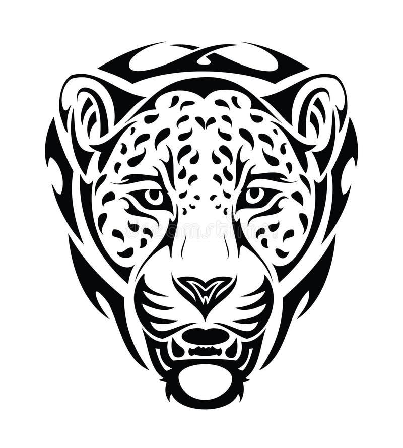Cabeça tribal do jaguar - isolada ilustração stock