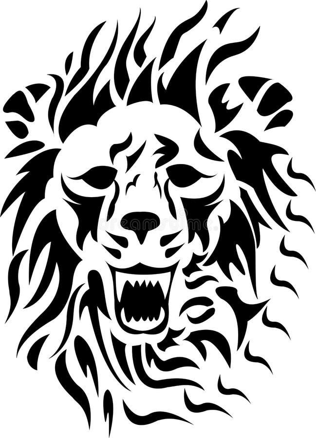 Cabeça tribal do leão ilustração stock