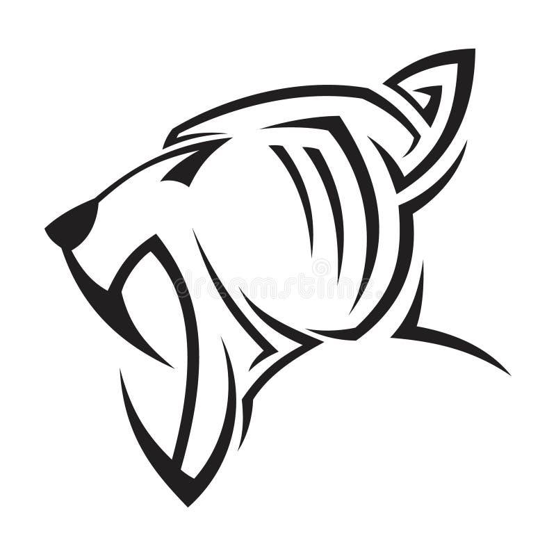 Cabeça tribal do vetor da ilustração criativa da silhueta do conceito de projeto da pantera ilustração do vetor