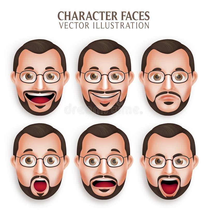Cabeça velha do homem da barba com expressão facial diferente ilustração royalty free