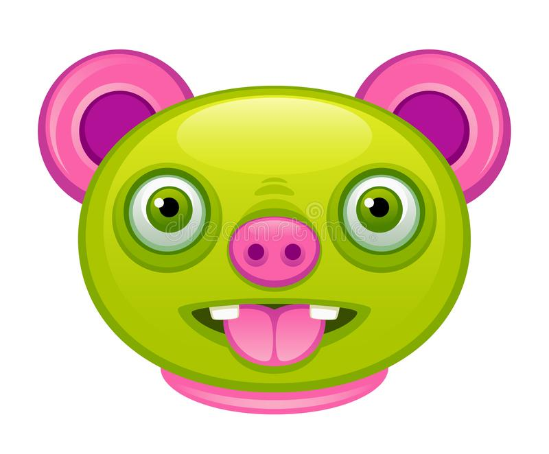 Cabeça verde engraçada da criatura ilustração stock