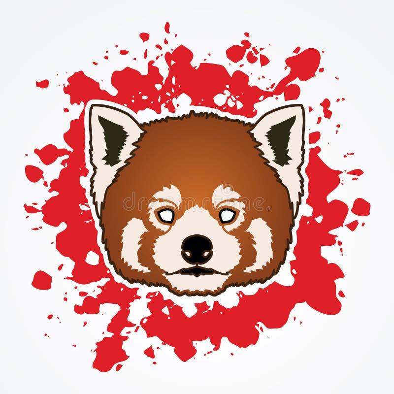 Cabeça vermelha de Panda Face ilustração stock