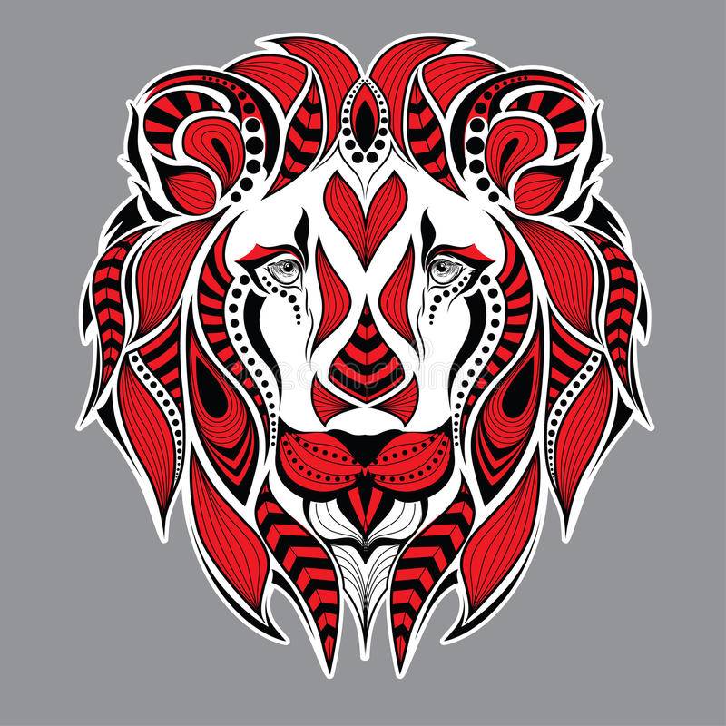 Cabeça vermelha modelada do leão no fundo cinzento Projeto africano/indiano/totem/tatuagem Pode ser usado para o projeto de um t ilustração royalty free