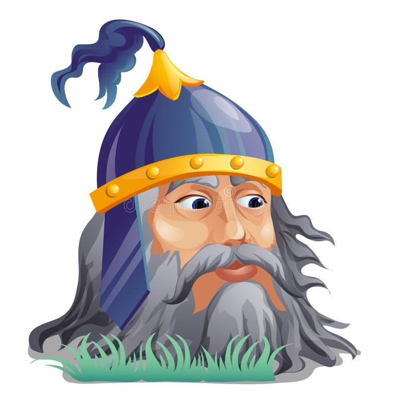 Cabeça viva Separate do herói épico do folclore do russo e de contos populares isolado no fundo branco Fim dos desenhos animados  ilustração royalty free