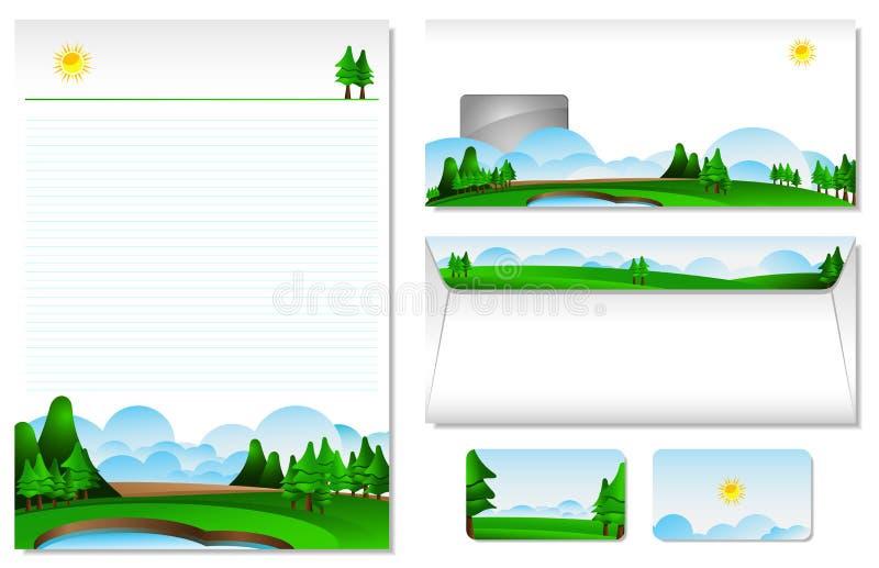 Cabeçalho com o tema da paisagem ilustração do vetor