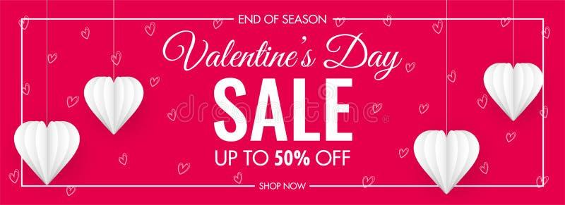 Cabeçalho de Venda do Dia do Valentine ou Design de Banner com 50% de Oferta de Desconto e Corações de Papel Branco Decorados ilustração stock