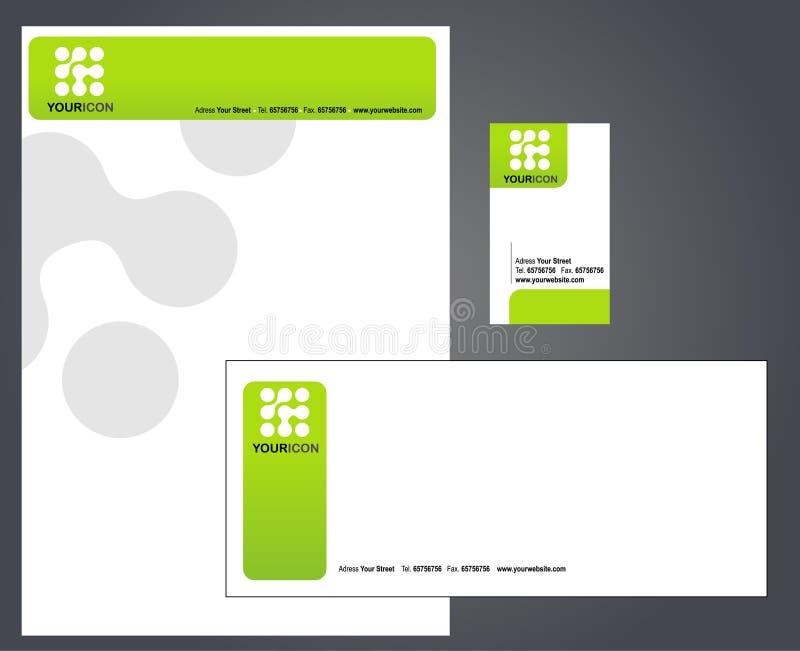 Cabeçalho, envelope e cartão ilustração stock