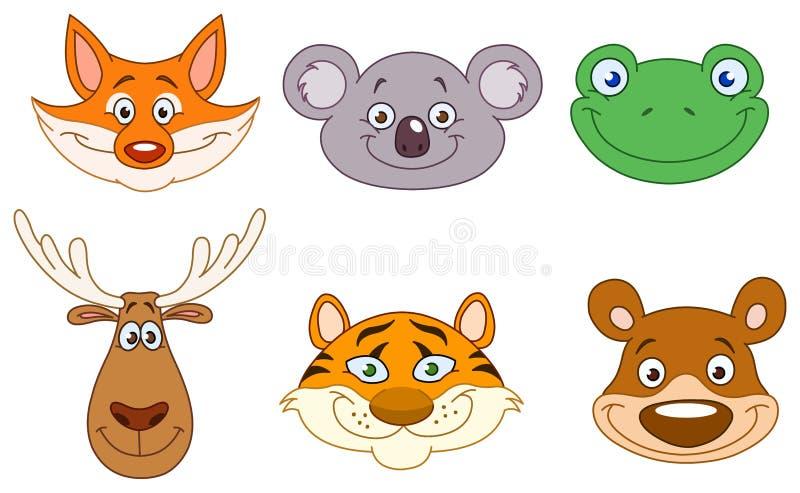 Cabeças 3 do animal ilustração do vetor