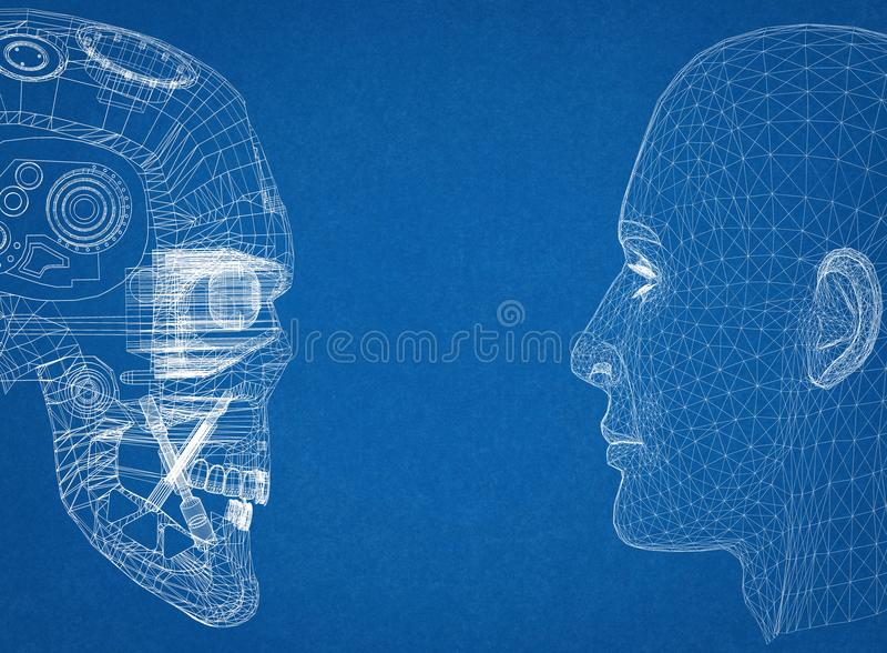 Cabeças abstratas do ser humano e do robô ilustração royalty free