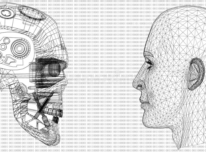 Cabeças abstratas do ser humano e do robô com código binário ilustração royalty free