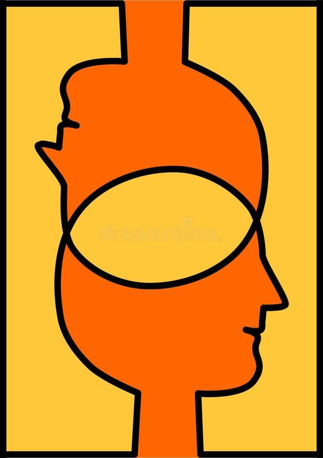Cabeças conectadas que compartilham de ideias ilustração stock