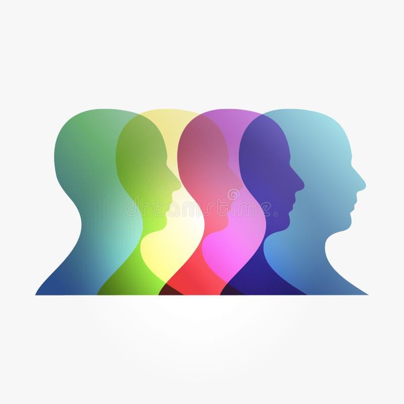 Cabeças da transparência do arco-íris ilustração do vetor