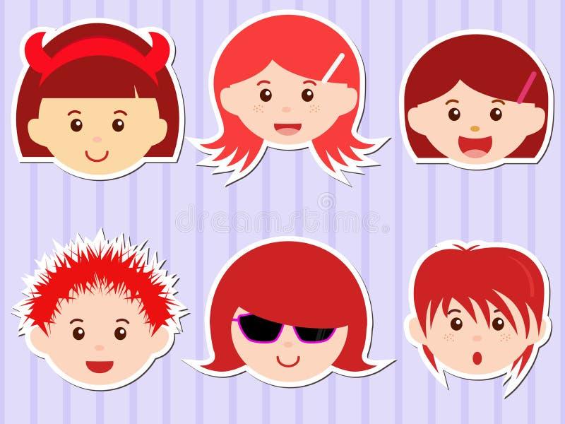 Cabeças das meninas/meninos com cabelo vermelho ilustração stock