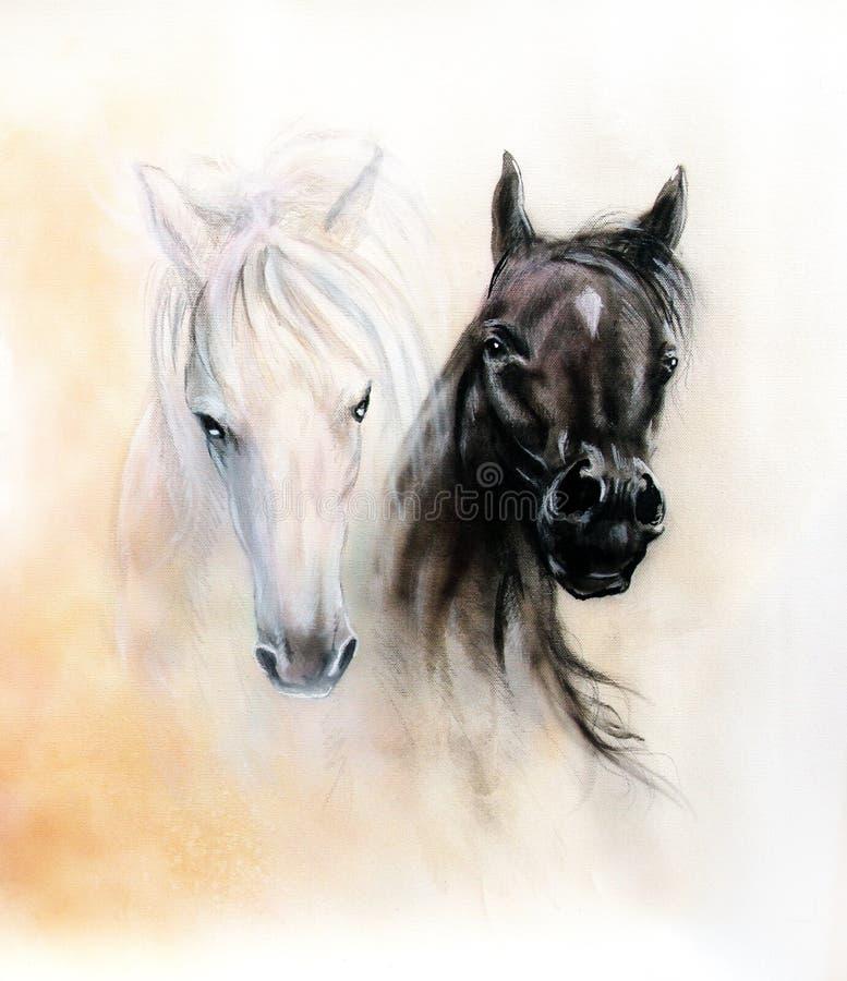 Cabeças de cavalo, dois espírito preto e branco do cavalo, detalhe bonito ilustração royalty free