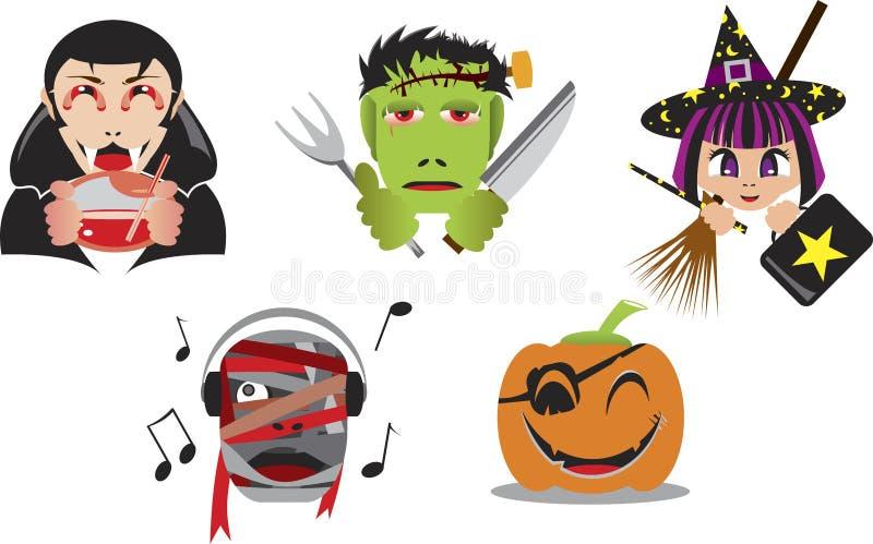 Cabeças de Halloween ilustração royalty free