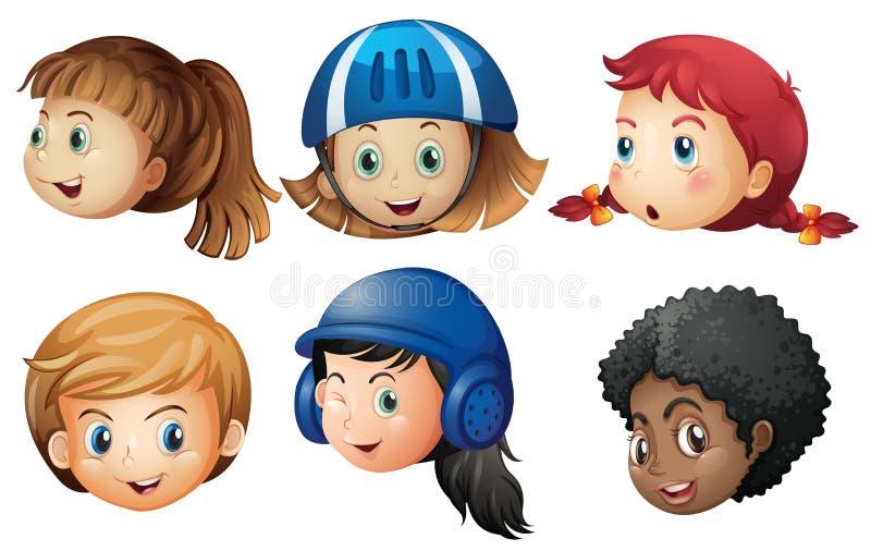 Cabeças de muitas meninas com cara feliz ilustração stock