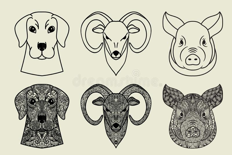 Cabeças decorativas da garatuja dos animais ajustados Porco, cão e cabra ou ram ilustração stock