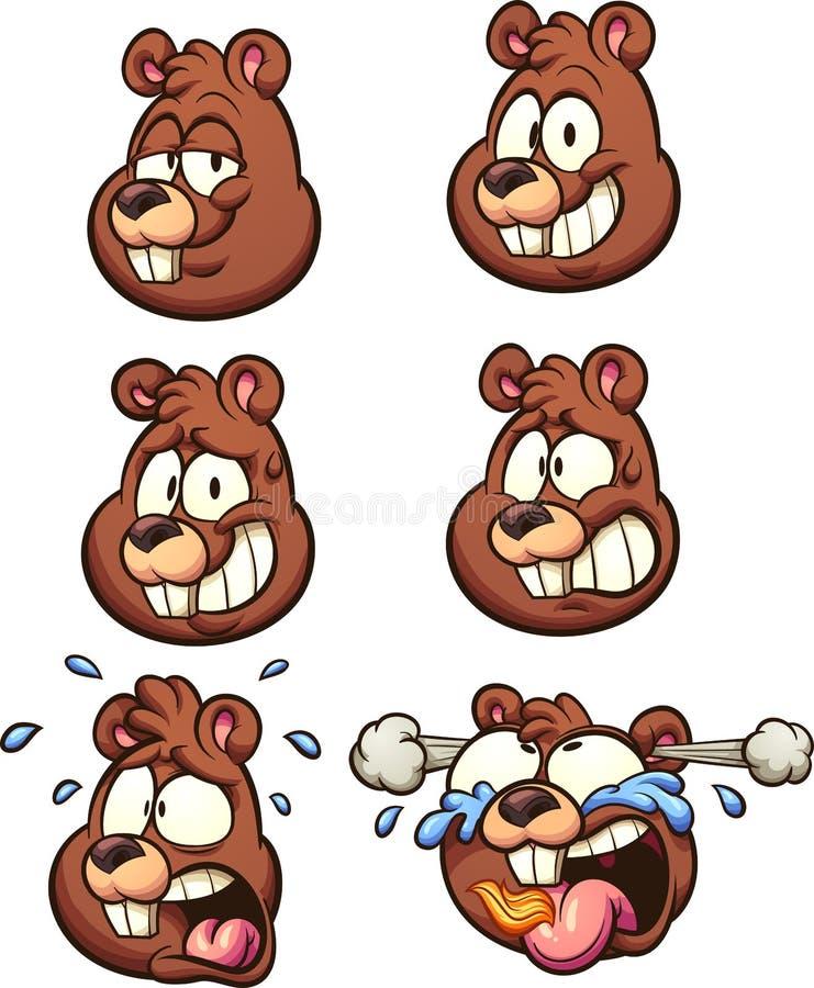 Cabeças do esquilo com expressões diferentes ilustração royalty free