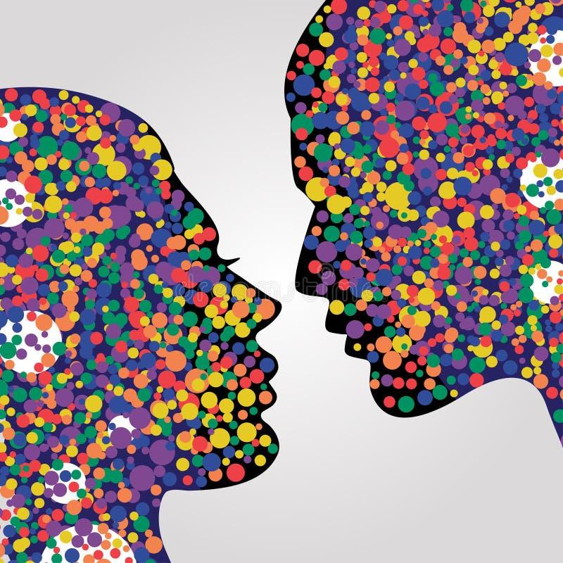 Cabeças do homem e da mulher com círculos coloridos ilustração do vetor