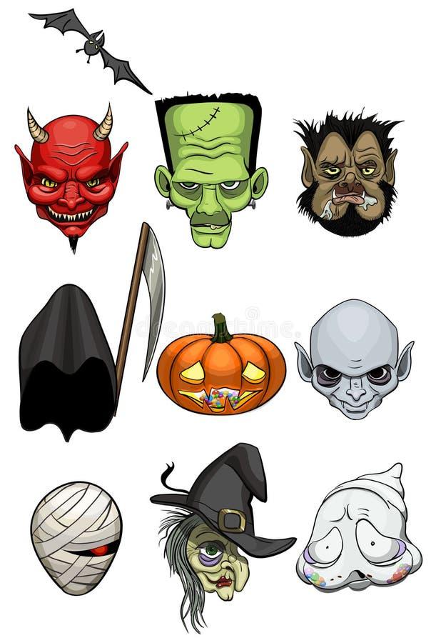 Cabeças do monstro de Dia das Bruxas ilustração stock