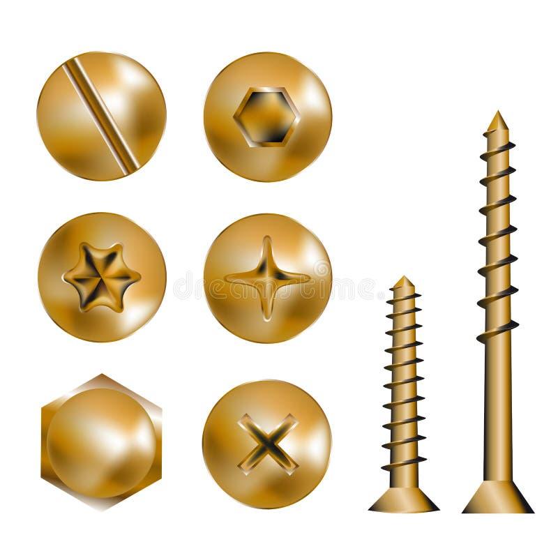 Cabeças do parafuso do ouro ilustração stock