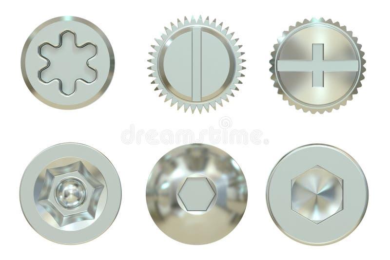 Cabeças do parafuso e de parafuso, rendição 3D ilustração stock