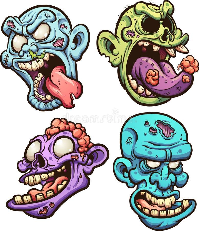 Cabeças do zombi ilustração stock