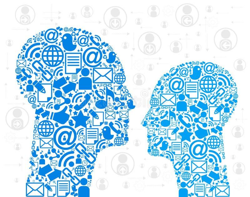 Cabeças dos ícones de uma comunicação ilustração stock