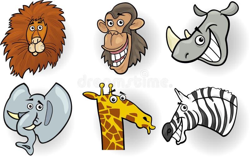 Zoológico De Animais Bebê Dos Desenhos Animados Vetor: Cabeças Dos Animais Selvagens Dos Desenhos Animados