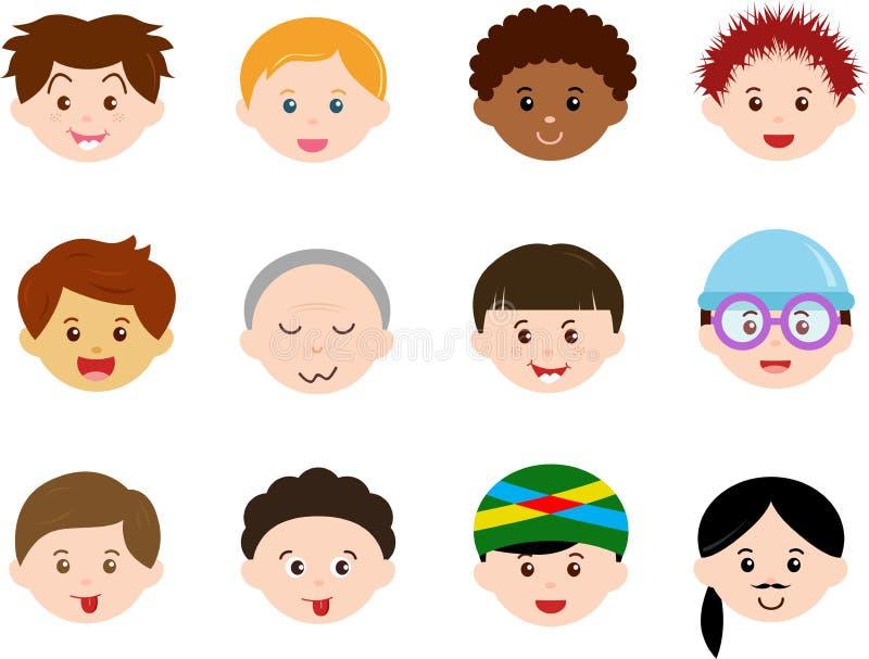 Cabeças dos meninos, homens, ethnics diferente dos miúdos (macho)