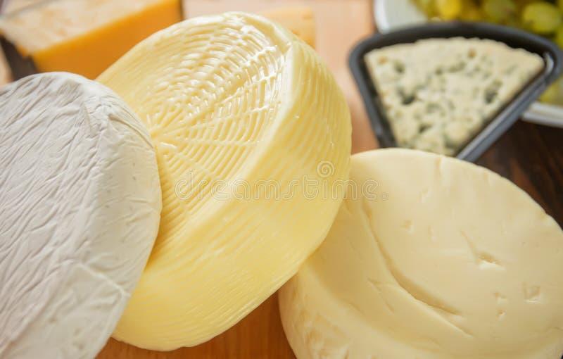 Cabeças e partes de queijo, massas do brie, mussarela, suluguni imagem de stock