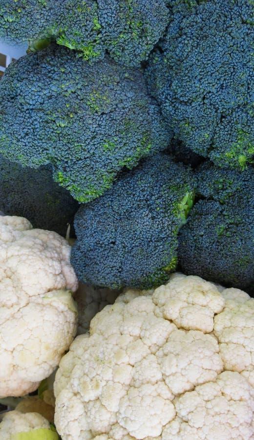 Cabeças frescas dos brócolis e da couve-flor crescidos na exploração agrícola fotos de stock royalty free